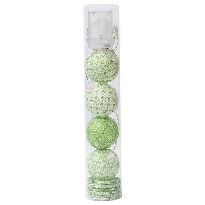 guirlande 10 boules led colores tu vert - Guirlande Boules Colores