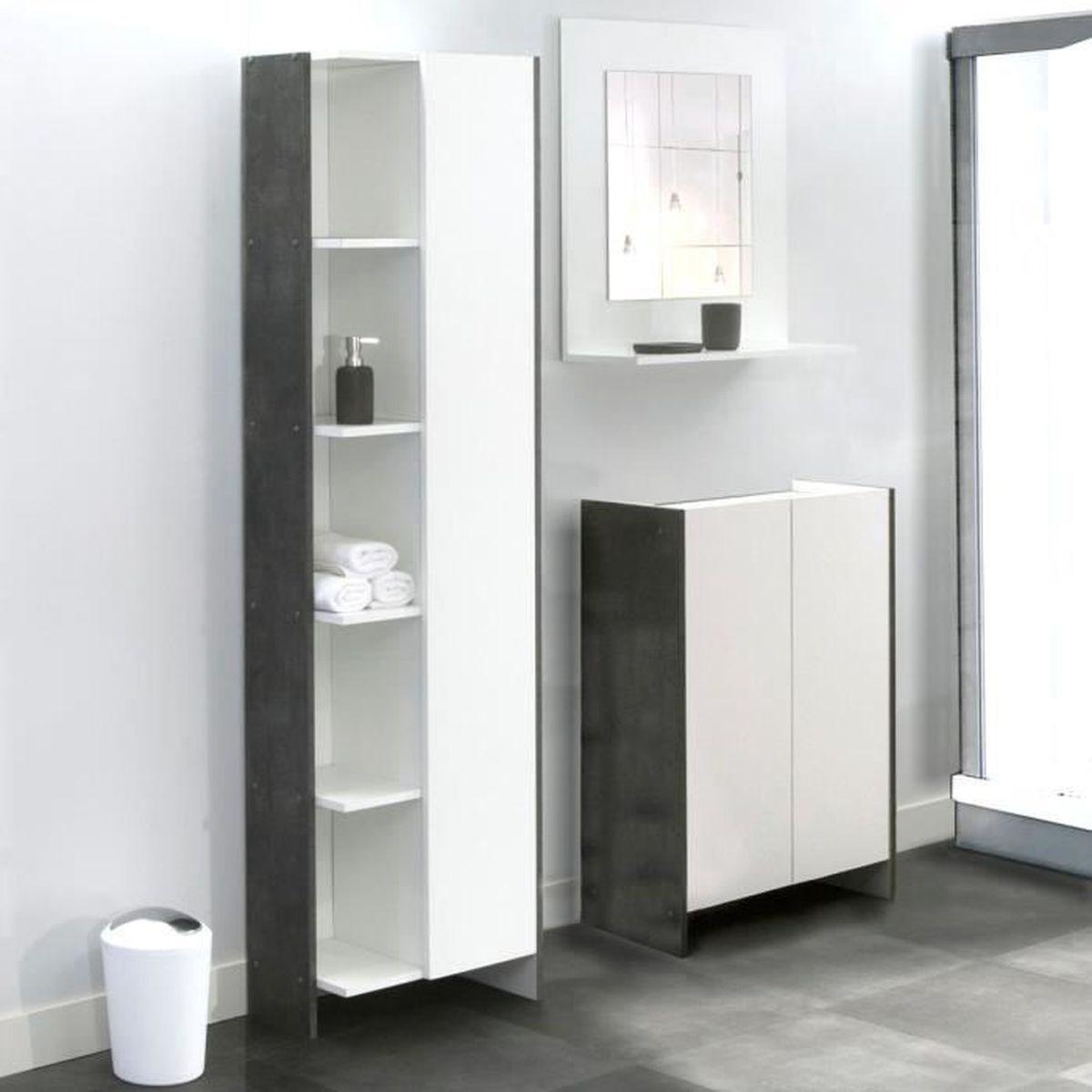 Armoire de salle de bain 1 porte 5 niches b ton for Armoire salle bain