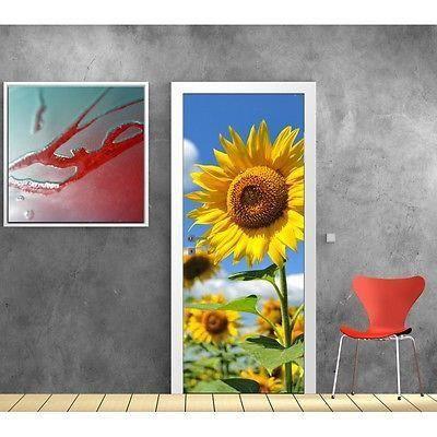 papier peint porte tournesols 722 dimensions 83x204cm achat vente papier peint cdiscount. Black Bedroom Furniture Sets. Home Design Ideas