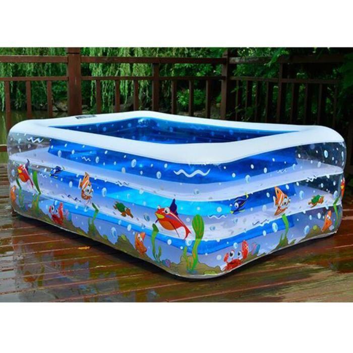 piscine gonflable bleu pour le b b l 39 enfant avec 3 boudins poiscine rectangulaire avec. Black Bedroom Furniture Sets. Home Design Ideas