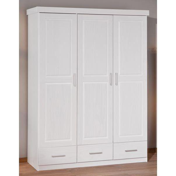 Armoire 3 portes 1 miroir 3 tiroirs en pin julio achat for Armoire blanche en pin