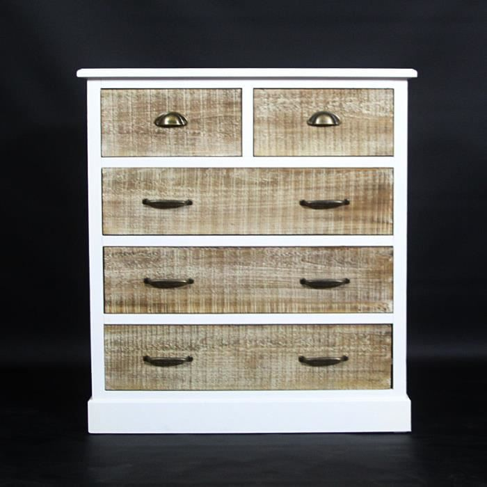 Commode milan blanche 5 tiroirs en bois blanc achat vente commode sem - Commode bois blanchi ...