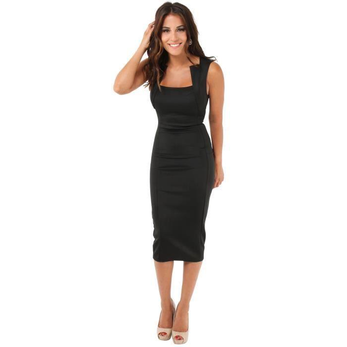 robe mi longue moulante noir noir achat vente robe cdiscount. Black Bedroom Furniture Sets. Home Design Ideas