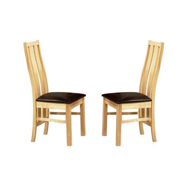 Lot de 2 chaises pucci bois naturel achat vente chaise marron cdiscount - Lot de 6 chaises en bois ...