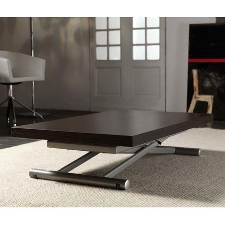 Volita table basse relevable et extensible en bois weng for Table basse et haute a la fois