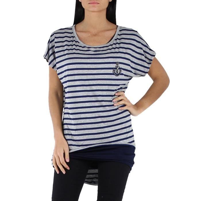 tunique t shirt femme gris et bleu rayures marin gris achat vente tunique 2009943251966. Black Bedroom Furniture Sets. Home Design Ideas