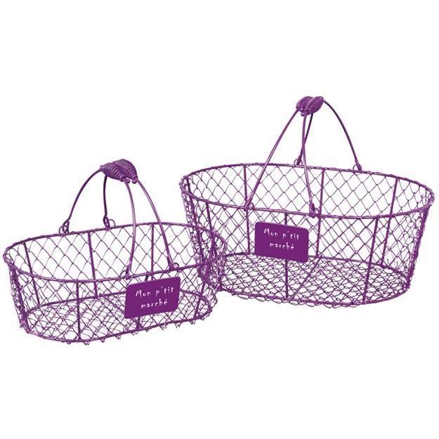 petit panier metallique ovale violet en grillage avec anses amovibles une petite plaque portant. Black Bedroom Furniture Sets. Home Design Ideas