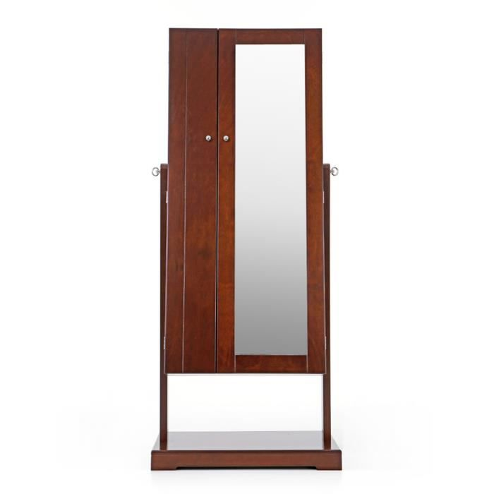Armoire inclinable de rangement avec dressing miroir brun for Armoire dressing avec miroir