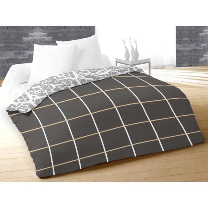 couette imprim e 220x240 alpha gris achat vente couette cdiscount. Black Bedroom Furniture Sets. Home Design Ideas