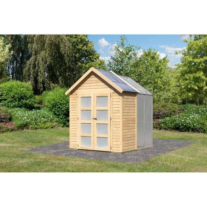 Abri de jardin bois m2 avec serre polycarbonate - Polycarbonate prix m2 ...
