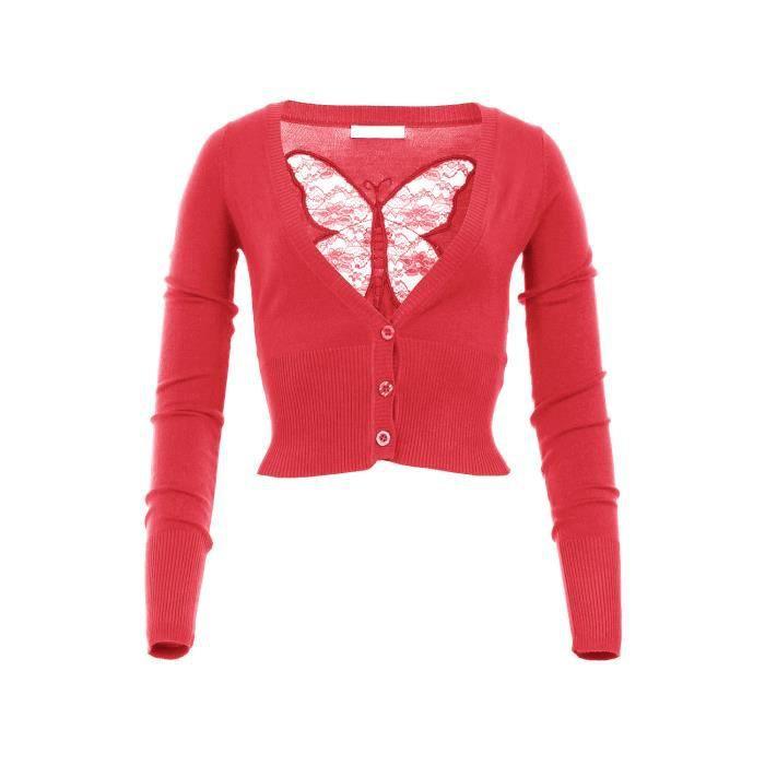 gilet court avec papillon dans l rouge rouge achat vente gilet cardigan gilet court. Black Bedroom Furniture Sets. Home Design Ideas