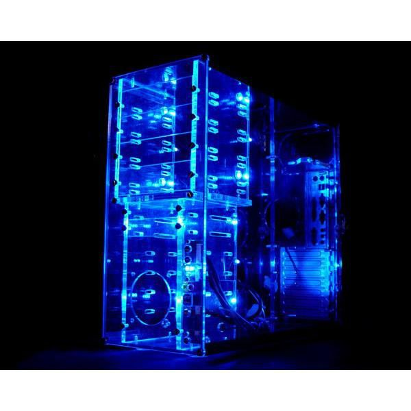 bo tier tour plexi transparent 12 led bleu prix pas. Black Bedroom Furniture Sets. Home Design Ideas