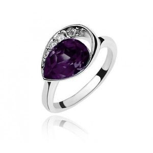 BAGUE - ANNEAU Bague cristal swarovski elements violet plaqué or