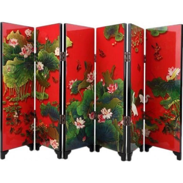 paravent d coration asiatique motif fleurs de lotus achat vente paravent cdiscount. Black Bedroom Furniture Sets. Home Design Ideas