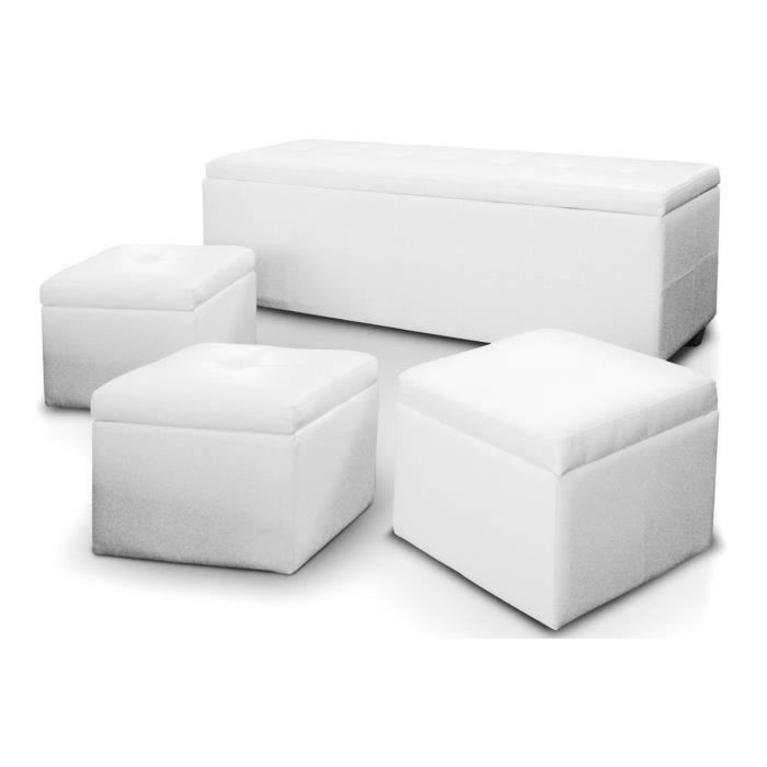 Banquette coffre 3 poufs blanc banco xl achat vente banquette banquette - Pouf blanc capitonne ...