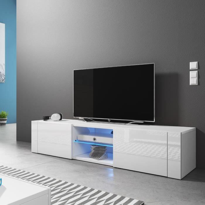 Meuble tv el gant blanc mat blanc brillant avec led achat vente meuble - Cdiscount meuble tv blanc ...