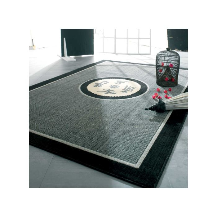 tapis pas cher nihel noir 120x160 en polypropyl achat vente tapis cdiscount. Black Bedroom Furniture Sets. Home Design Ideas