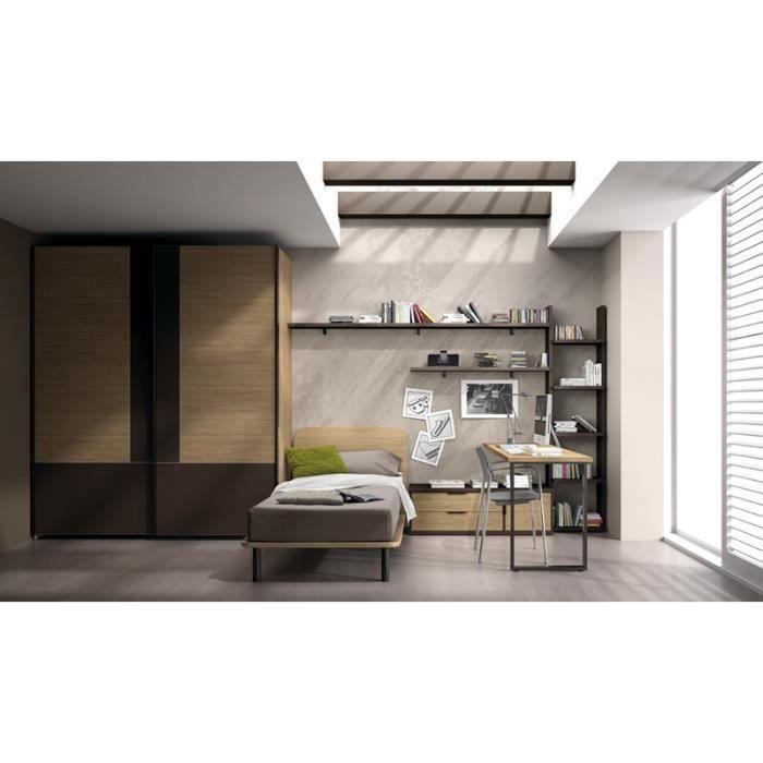 Chambre mondo marron lit bureau et armoire achat for Chambre lit et armoire