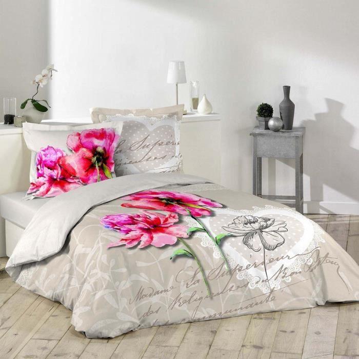 parure housse de couette 2 taies 240x220 cm lilio. Black Bedroom Furniture Sets. Home Design Ideas
