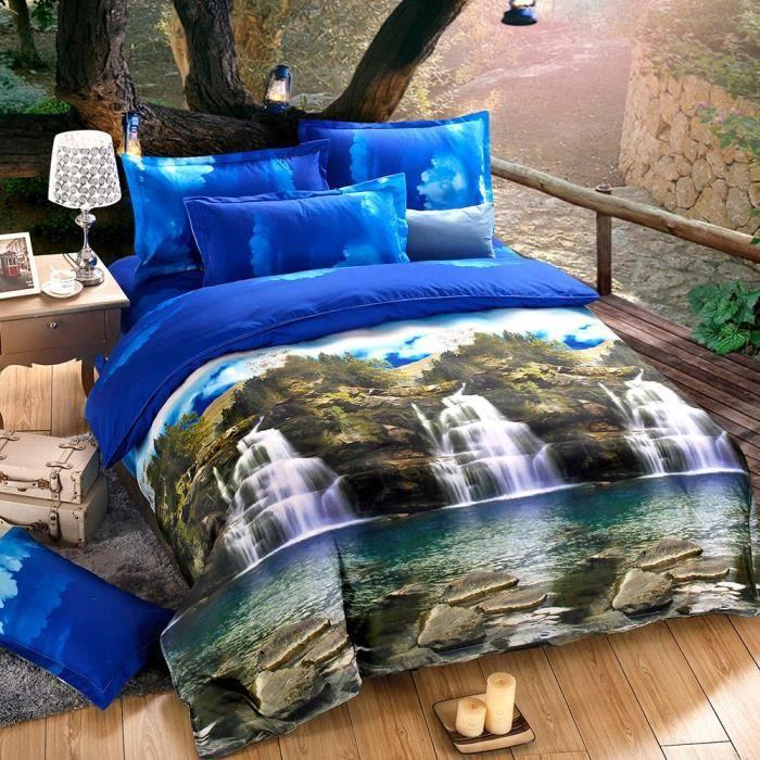 4pcs 3d imprim parures de drap de lit housse de couette 2 taies d 39 oreillers textiles literie. Black Bedroom Furniture Sets. Home Design Ideas