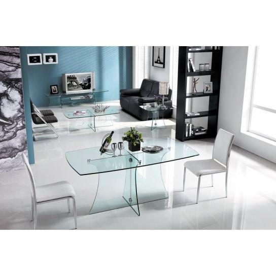 Table à manger transparente 6 couverts avec plateau en verre trempé 10 mm et