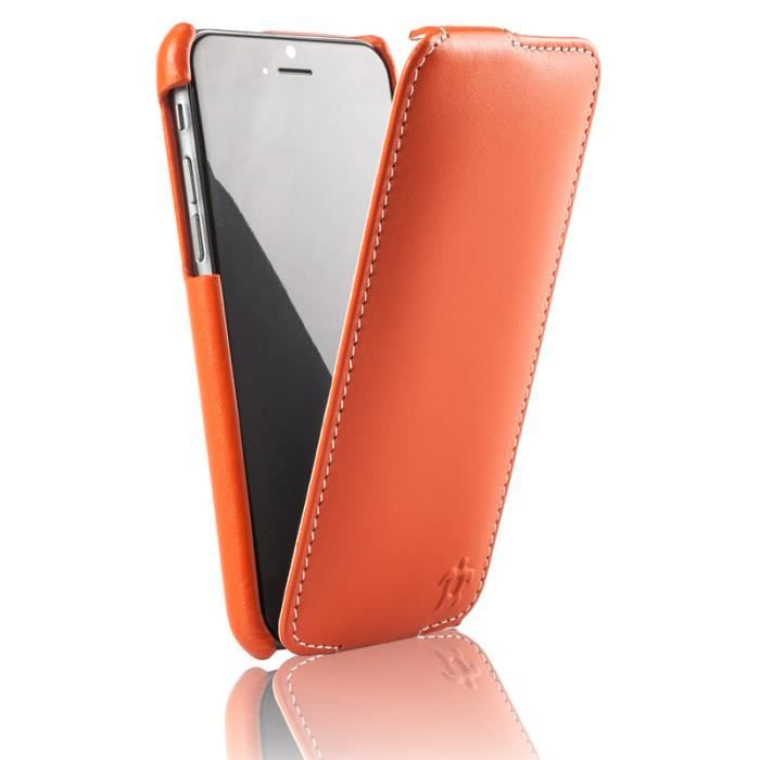Housse pour iphone 6 4 7 cuir orange blanc c achat for Housse iphone 7 cuir