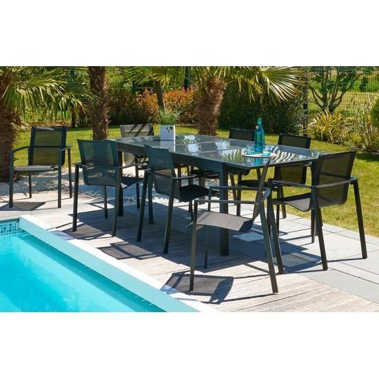 ensemble de jardin miami table a rallonge color achat vente salon de j. Black Bedroom Furniture Sets. Home Design Ideas