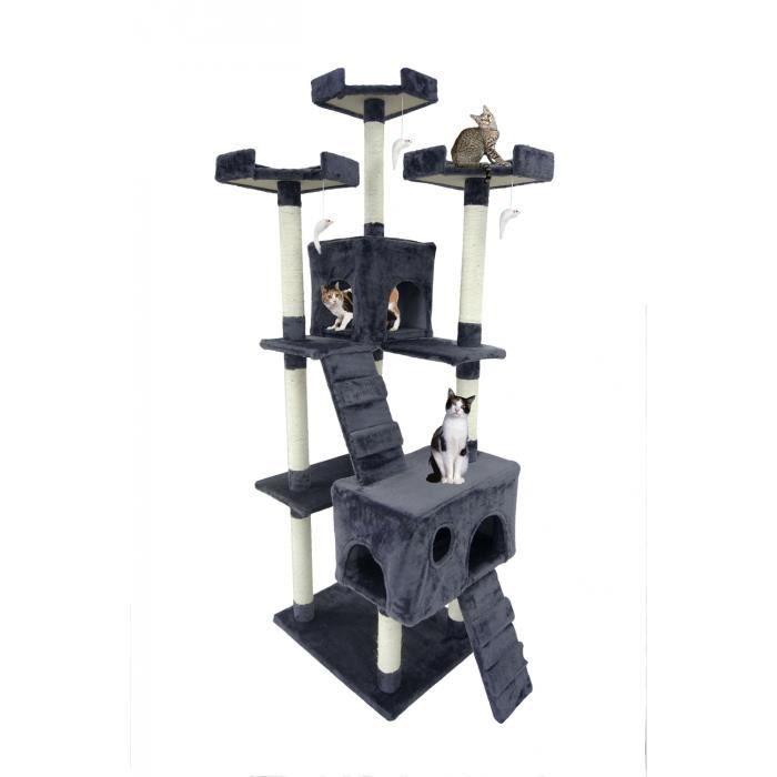 arbre chat 170cm avec griffoir gris achat vente arbre chat arbre chat 170cm cdiscount. Black Bedroom Furniture Sets. Home Design Ideas
