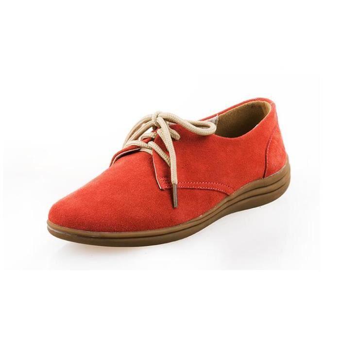 femme nubuck chaussures lace up flats mocassin orange orange tu achat vente mocassin. Black Bedroom Furniture Sets. Home Design Ideas