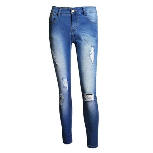 jeans trou femme nouvelle arrivee europ en mode taille haute pantalon pieds grande taille longue. Black Bedroom Furniture Sets. Home Design Ideas