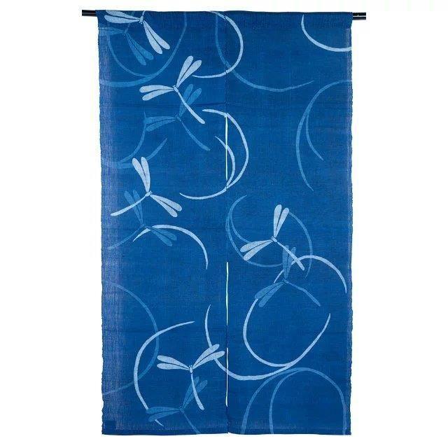 noren panneau japonais direau de porte tapisserie en toile libellule bleu achat vente. Black Bedroom Furniture Sets. Home Design Ideas