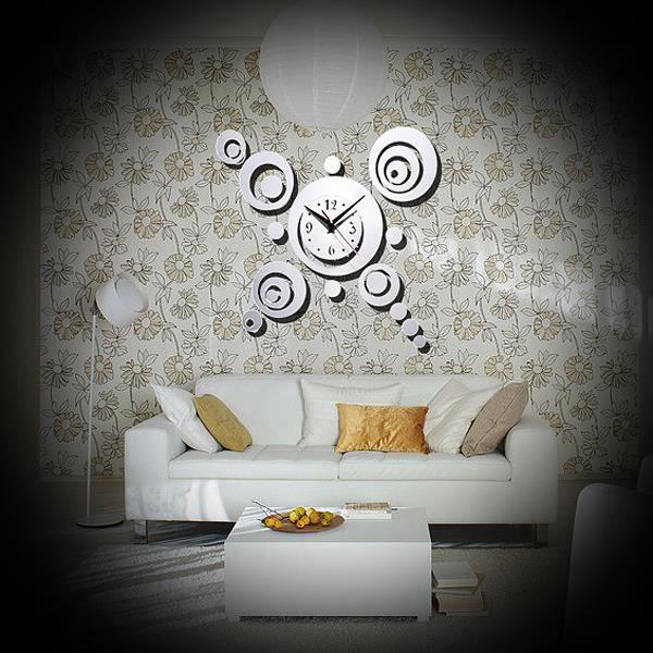 Diy 3d horloge murale moderne design miroir pr decor maison salon chambre argent achat vente for Horloge murale moderne salon