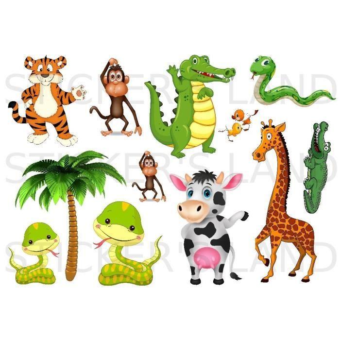 stickers d 201 coratifs animaux de la jungle 224 d 233 couper planche 224 stickers dimensions 21x28cm en