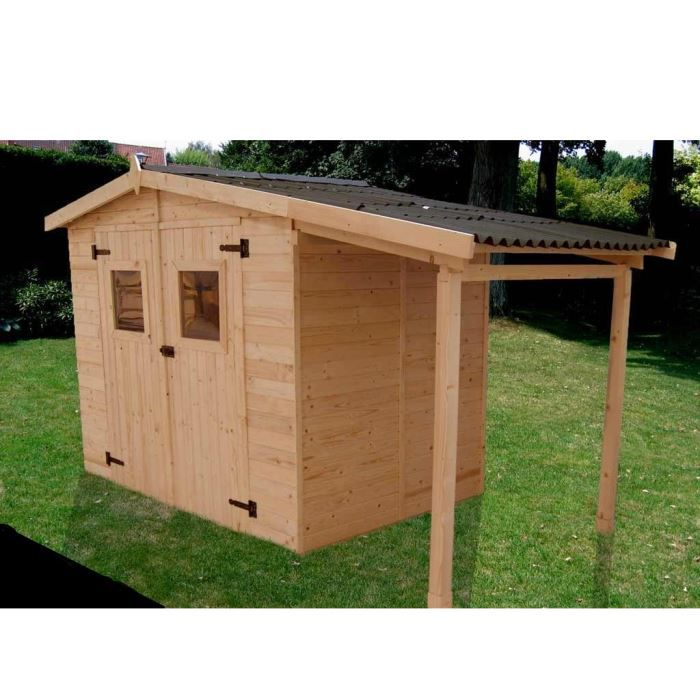 Abri de jardin avec plancher et bucher achat for Abri de jardin resine 5m2