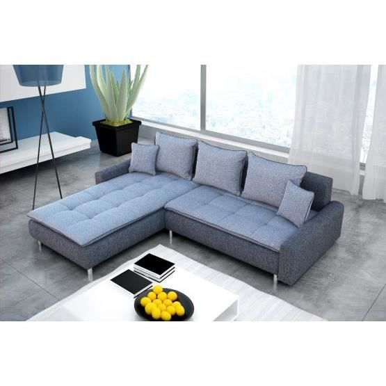 Canap angle convertible bennett gris gauche achat vente canap sofa - Canape angle cdiscount ...