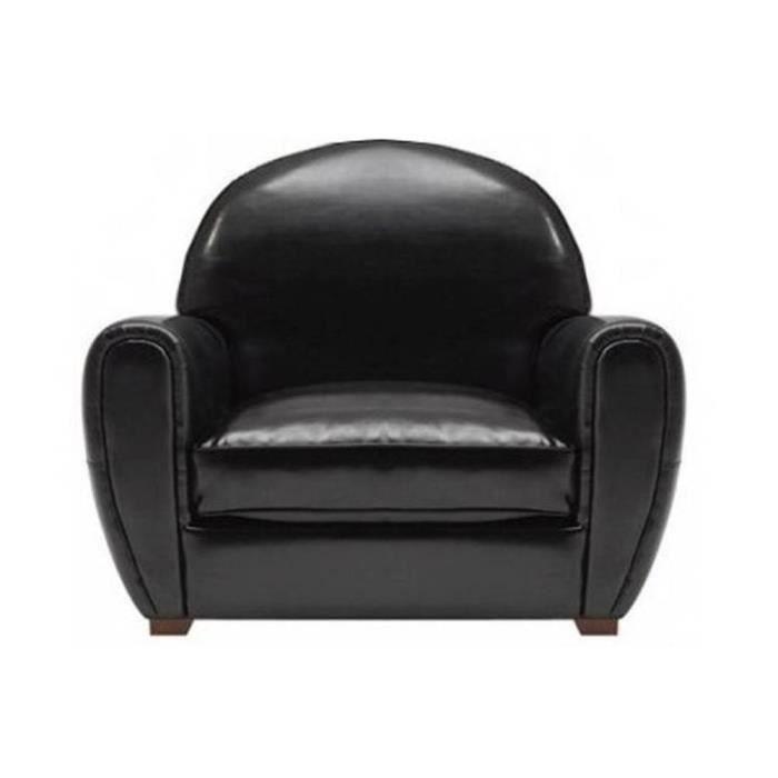 Fauteuil club noir brillant en cuir vachette m achat vente fauteuil cui - Fauteuil club cuir noir ...