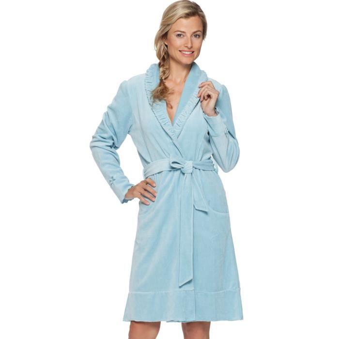 pastunette deluxe loungewear robe de chambre en coton et velours bleu 100cm 7051 303 4 524. Black Bedroom Furniture Sets. Home Design Ideas