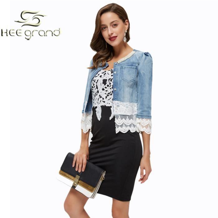 veste jean avec dentelle femme achat vente veste jean avec dentelle femme pas cher les. Black Bedroom Furniture Sets. Home Design Ideas