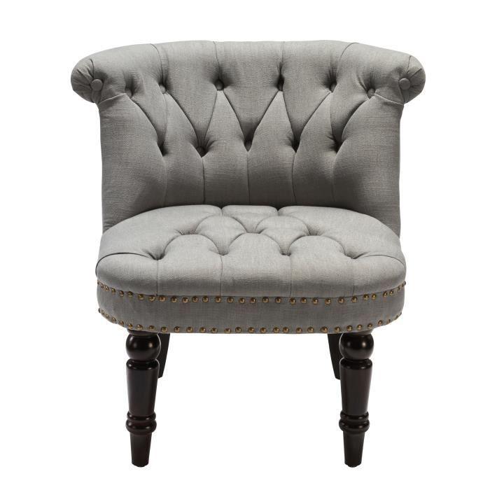 Fauteuil crapaud capitonn lin gris clair achat vente fauteuil cdiscount - Fauteuil crapaud gris ...