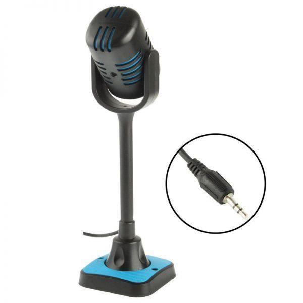 micro pc r tro microphone bureau jack filaire support bleu noir ce micro pc bleu au look. Black Bedroom Furniture Sets. Home Design Ideas