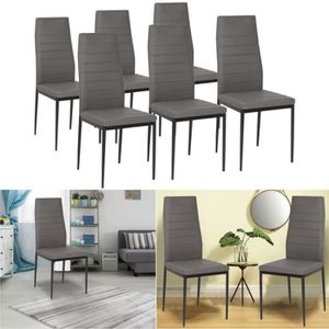 CHAISE Lot de 6 chaises salle à manger grises