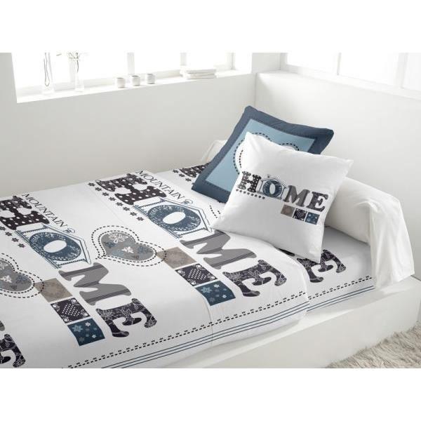 parure drap plat 240x290 cm drap housse 140x190 cm 2 taies d oreiller mountain blanc 66. Black Bedroom Furniture Sets. Home Design Ideas