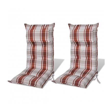 Coussin pour chaise de jardin brun 8cm d paisseur 2 for Casa coussin de chaise