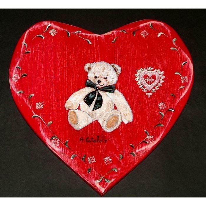 Tableau peinture coeur nounours deco chambre enfan achat - Tableau coeur maison du monde ...