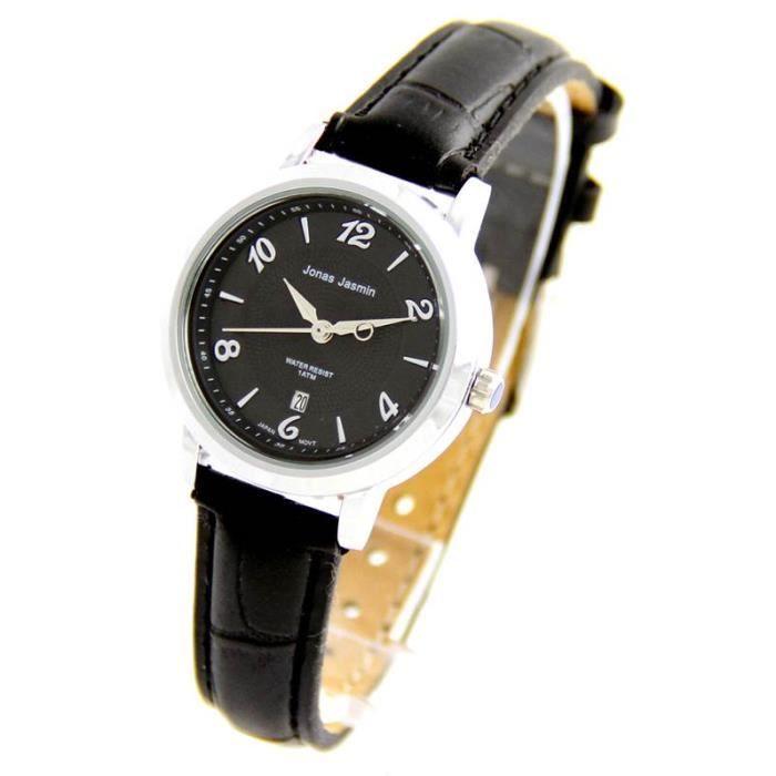 jolie montre femme avec bracelet cuir noir jasmin 1055 achat vente montre jolie montre femme. Black Bedroom Furniture Sets. Home Design Ideas