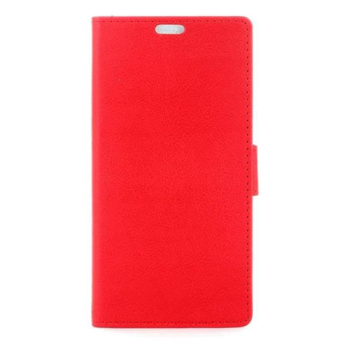 Housse wiko tommy portefeuille rouge aspect grain e for Housse wiko tommy 2