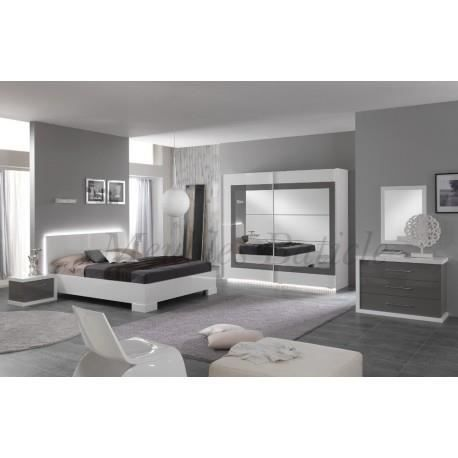 Chambre adulte compl te ancona i laqu gris achat for Chambre complete adulte laque