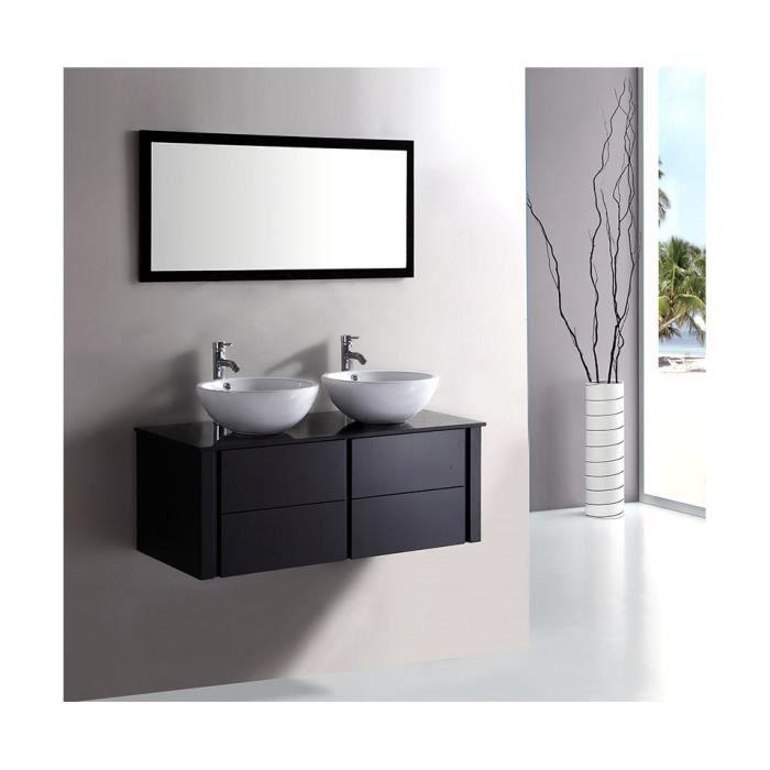 Ensemble de salle de bain alcaraz noir achat vente for Achat salle de bain complete