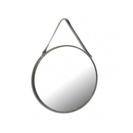 miroir suspendu avec lani re similicuir marron achat. Black Bedroom Furniture Sets. Home Design Ideas