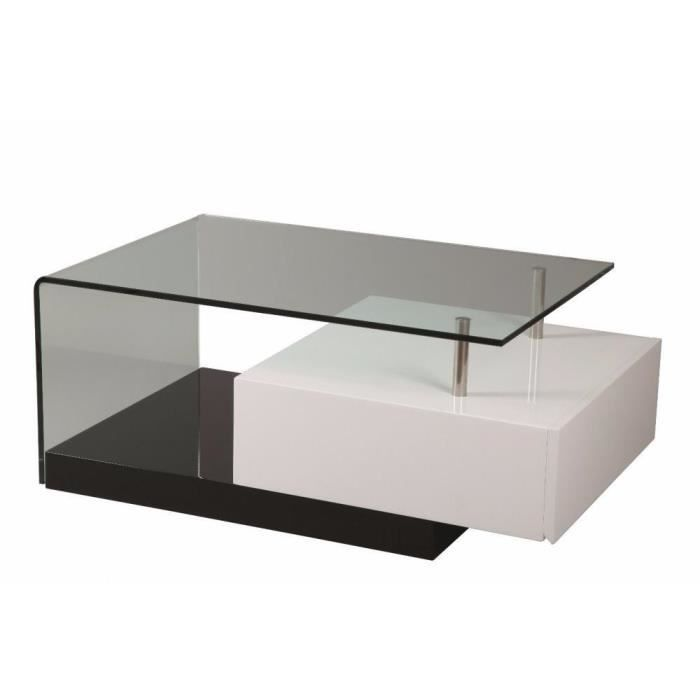 Table basse trunk en verre transparent tiroir blanc laqu achat vente tab - Table basse pratique ...